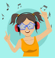 young teenage girl listening to the music vector image vector image