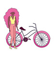 young woman riding bike ecology concept vector image vector image