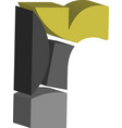 3d font letter r vector image vector image