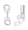 3d model of handcuffs and a revolver on a white vector image vector image