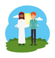 arabian couple in the landscape vector image