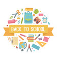 back to school flat icons in a circle vector image vector image