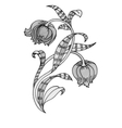 Beautiful hand-drawn monochrome flower vector image