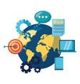 business world target message laptop mobile vector image