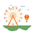 carnival with ferris wheel mechanical and air vector image