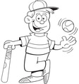 Cartoon boy with a baseball and bat vector image vector image