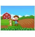 Cartoon little farmer and his dog with farm backgr vector image vector image