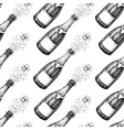 Champagne seamless pattern Bottle explosion Hand vector image vector image