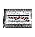 color crayon stripe cartoon digitizing tablet with vector image vector image