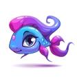 Cute cartoon blue girl fish vector image