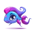 Cute cartoon blue girl fish vector image vector image