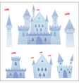 Cute cartoon medieval castle and set of towers