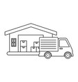 delivery service truck with warehouse vector image vector image