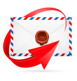 Envelope with stamp and arrow around vector image vector image