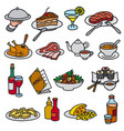 food and meal icons vector image vector image