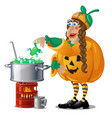 forest witch in costume jack-o-lantern brews magic vector image