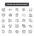 forums and message boards line icons for web and vector image vector image