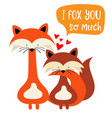 foxes couple in love funny valentines day card vector image