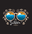 glasses with summer vacation landscapes vector image
