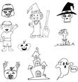 Halloween character in doodle art vector image vector image