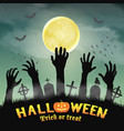 halloween silhouette zombie hand in night grave vector image vector image