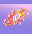 ico text design - isometric vector image vector image