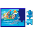 jigsaw puzzle pieces of kids sailing vector image vector image