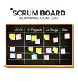 kanban board sticky notes business working vector image