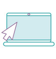 laptop computer with mouse pointer vector image vector image