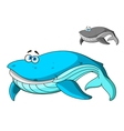Large cartoon blue whale character vector image vector image