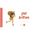 looting landing page template masked robber vector image vector image