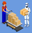 man use robot to lift and move boxes innovation vector image vector image