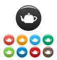 metal teapot icons set color vector image vector image