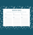 monthly goals template vector image