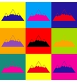 Mountain sign Pop-art style icons set vector image vector image