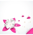 Pink paper flowers greeting card template vector image vector image