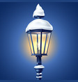 realistic streetlight with snowcap new year vector image vector image