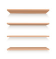 realistic wooden shelves set to arrange items or vector image