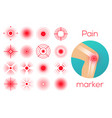 red circles pain place symbol sore localization vector image