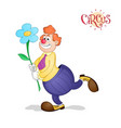 red haired clown with flower vector image
