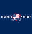 remember and honor memorial day usa heart blue pos vector image vector image