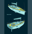 sailing yacht color drawings vector image vector image