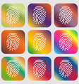 Scanned finger Icon sign Nine buttons with bright vector image