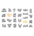 set of 25 halloween party hand lettering vector image vector image