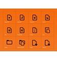 Set of Files icons on orange background vector image