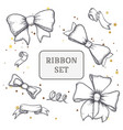 set of vintage hand drawn ribbon bows vector image vector image