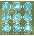 set polygonal abstract globes with mainlands vector image