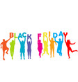 silhouette people holding letters with black vector image vector image