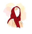 Silhouette woman in dark red turban vector image