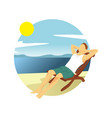 summer beach boy relaxing activity scenery design vector image